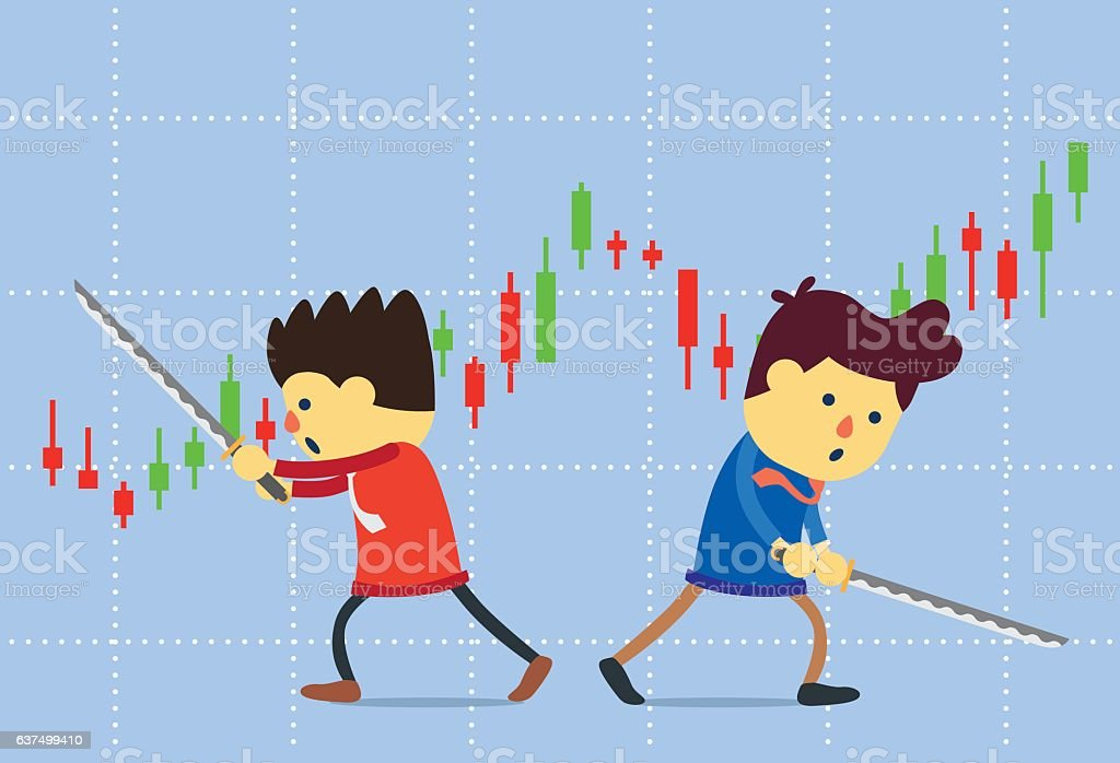 Two peoples battle with sword on stock chart background. vector art illustration