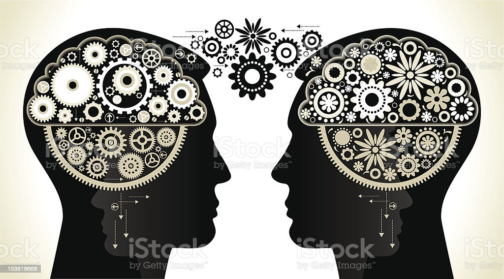 two persons with gears royalty-free stock vector art