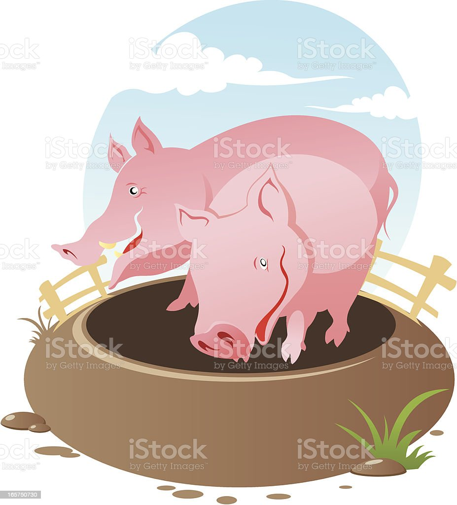 Two pigs royalty-free stock vector art