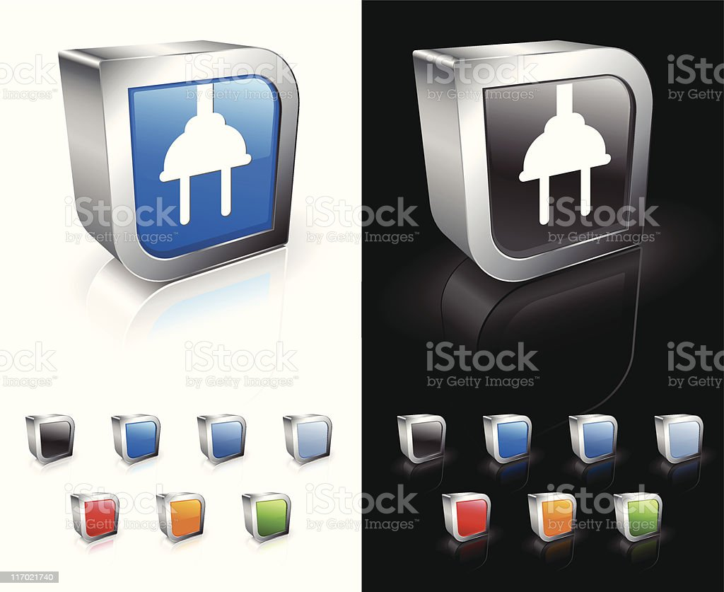 Two Pin Plug on 3D royalty free vector art vector art illustration