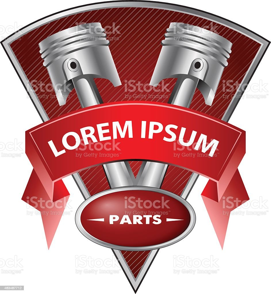 two pistons on the background with tape vector art illustration