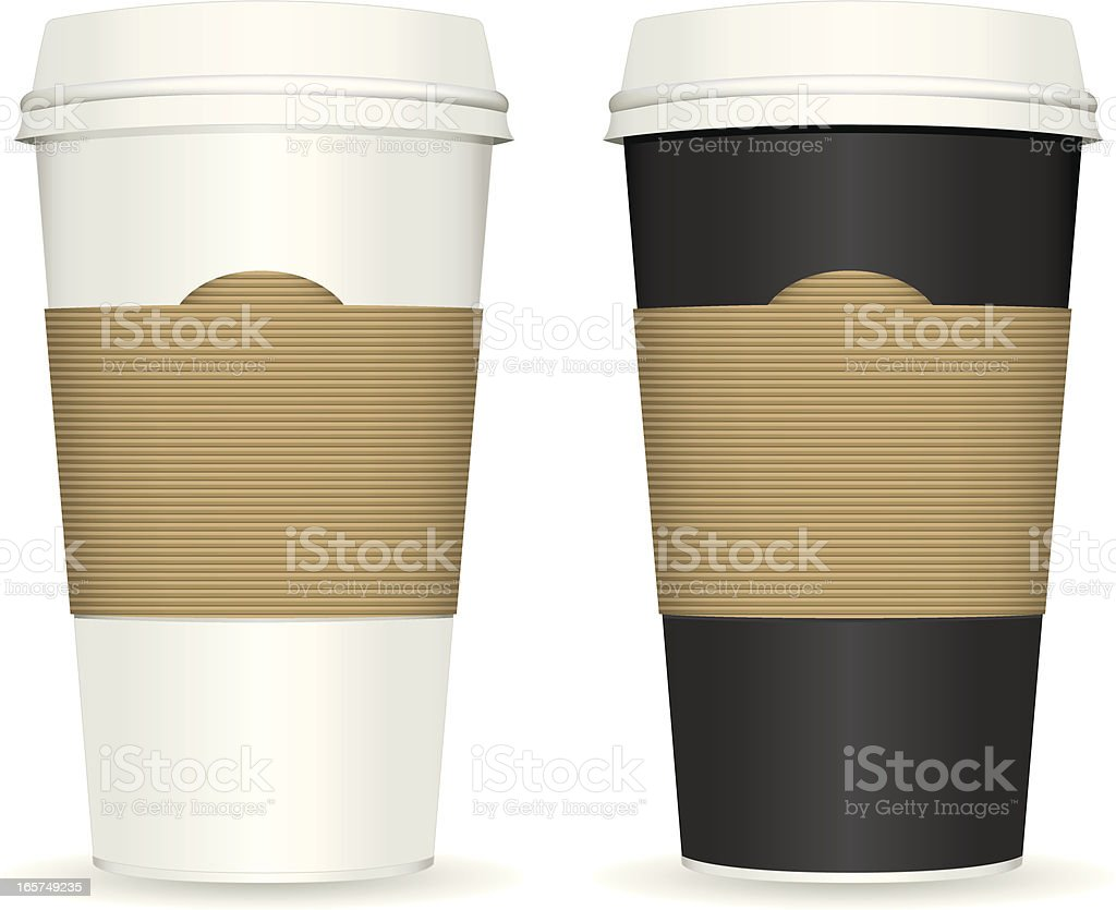 Two plastic coffee cups with white background royalty-free stock vector art