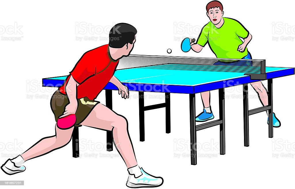 two players play table tennis vector art illustration