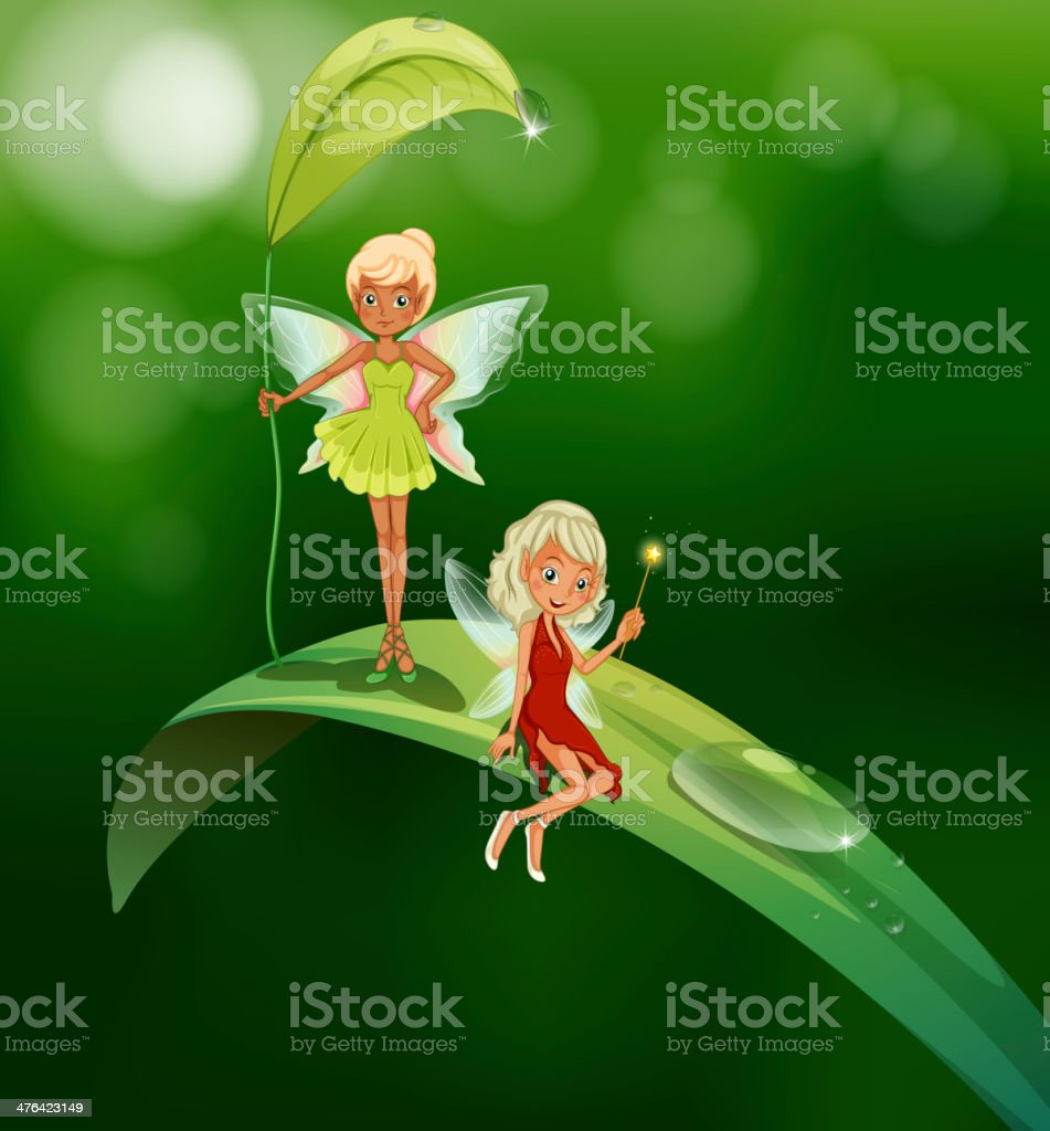 Two playful fairies royalty-free stock vector art