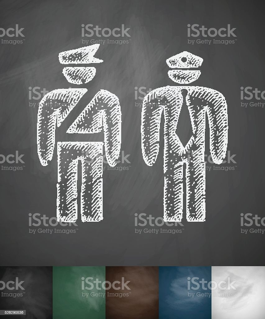 two police officers icon. Hand drawn vector illustration vector art illustration