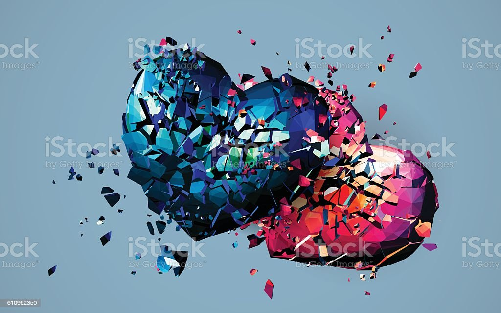Two polygonal heart crashed and broken both vector art illustration