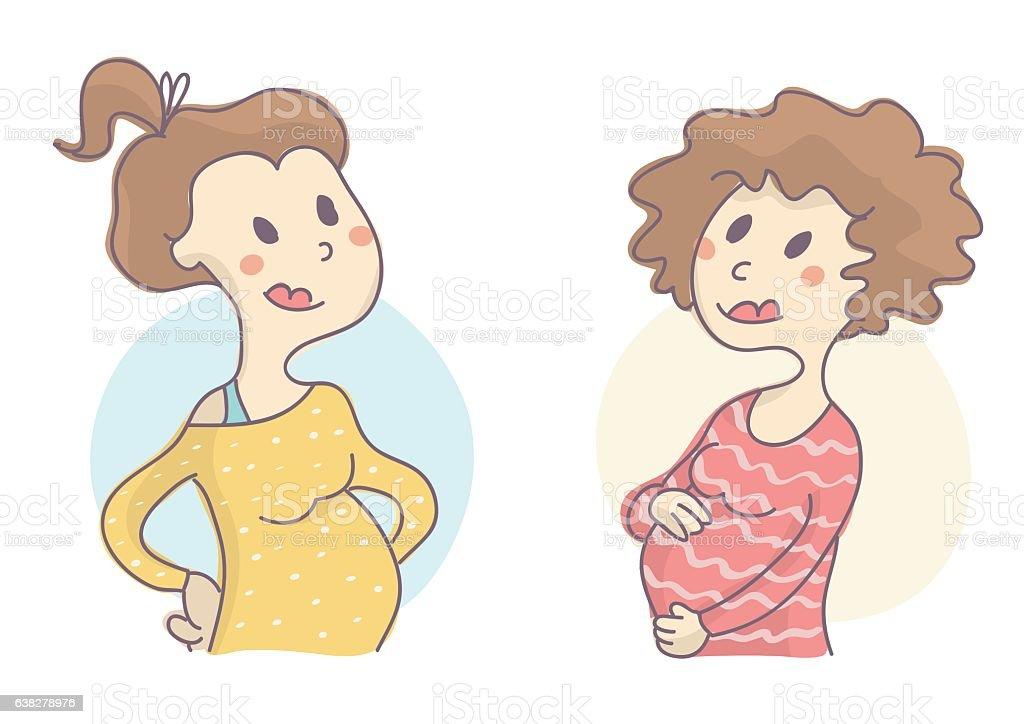 Two pregnant women smiling vector art illustration