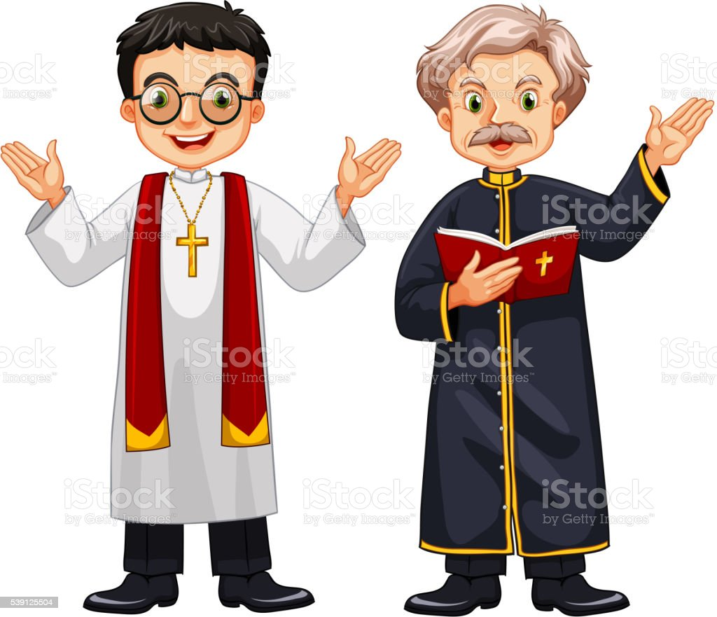 Two priests with happy face vector art illustration