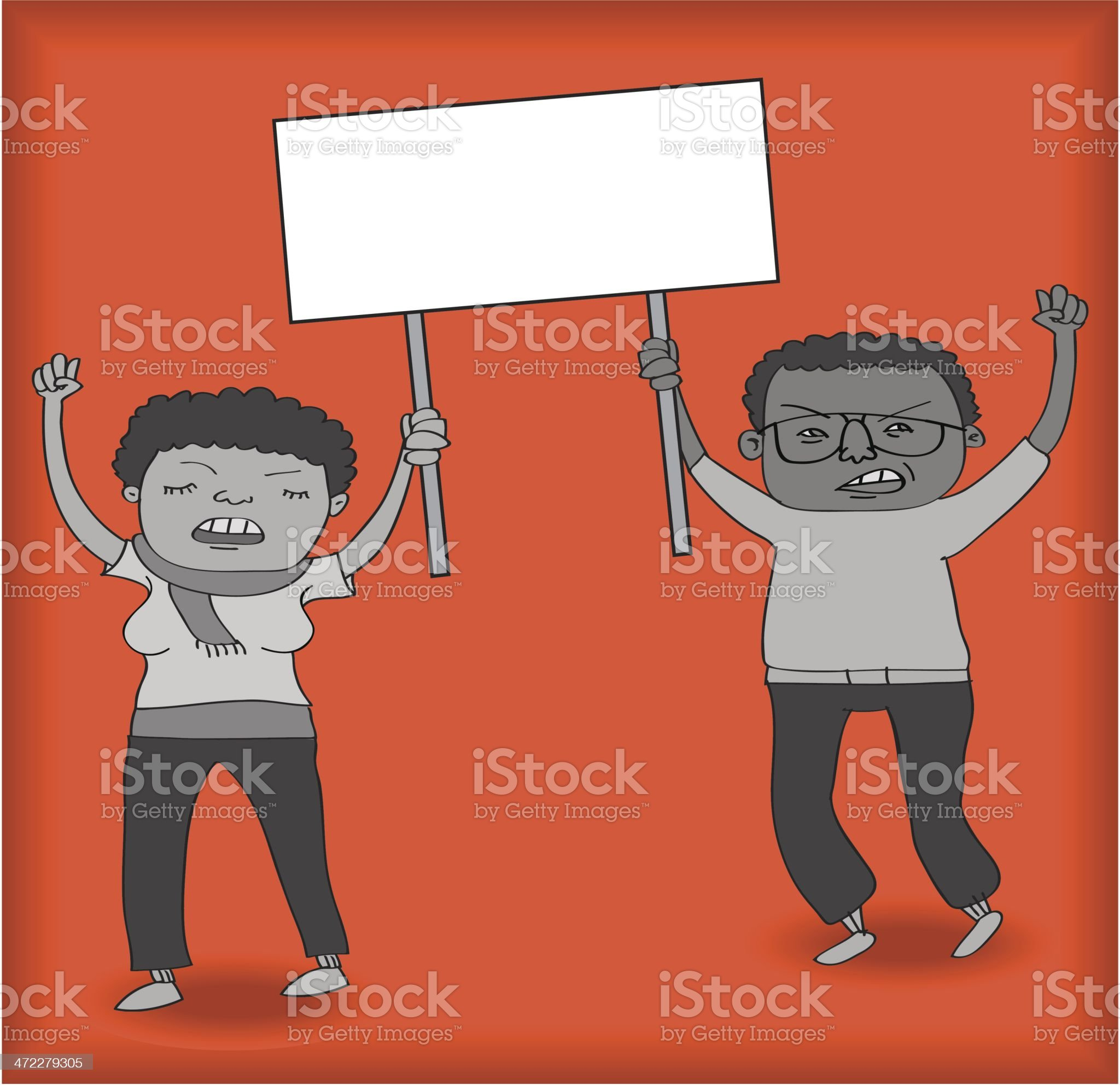 Two Protesters Holding Sign royalty-free stock vector art