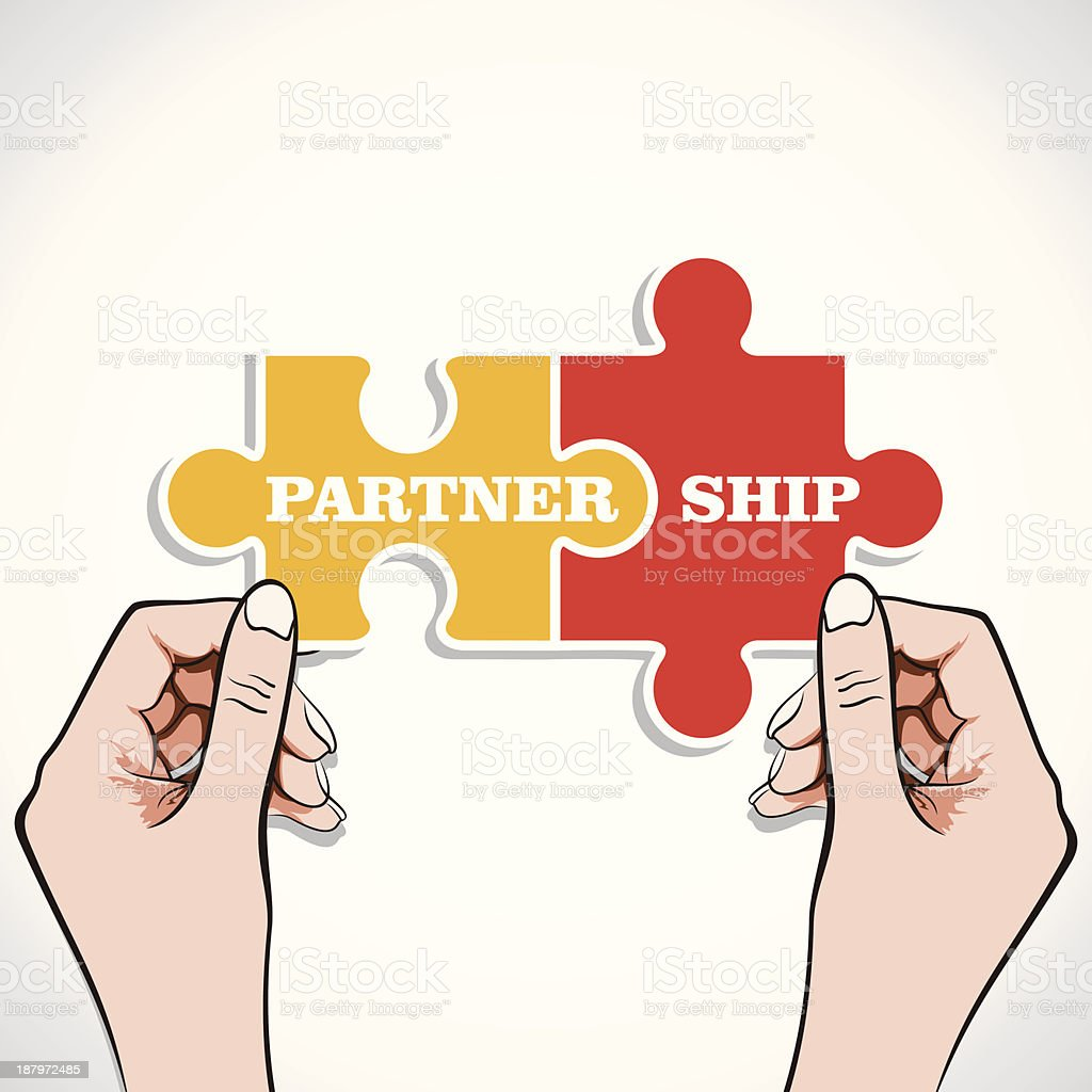 Two puzzle pieces fitted together spelling partnership royalty-free stock vector art