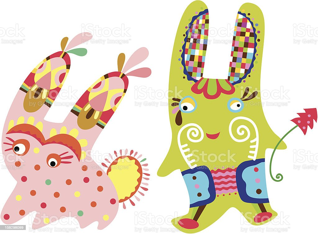 Two rabbits royalty-free stock vector art