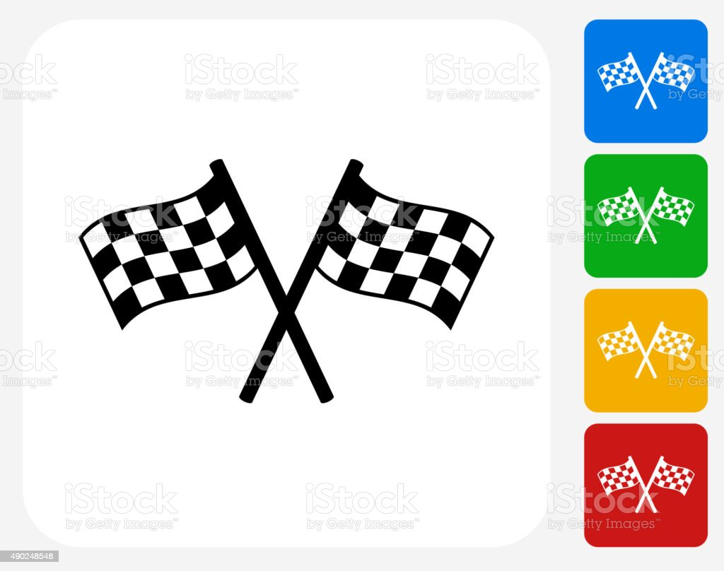 Two Racing Flags Icon Flat Graphic Design vector art illustration