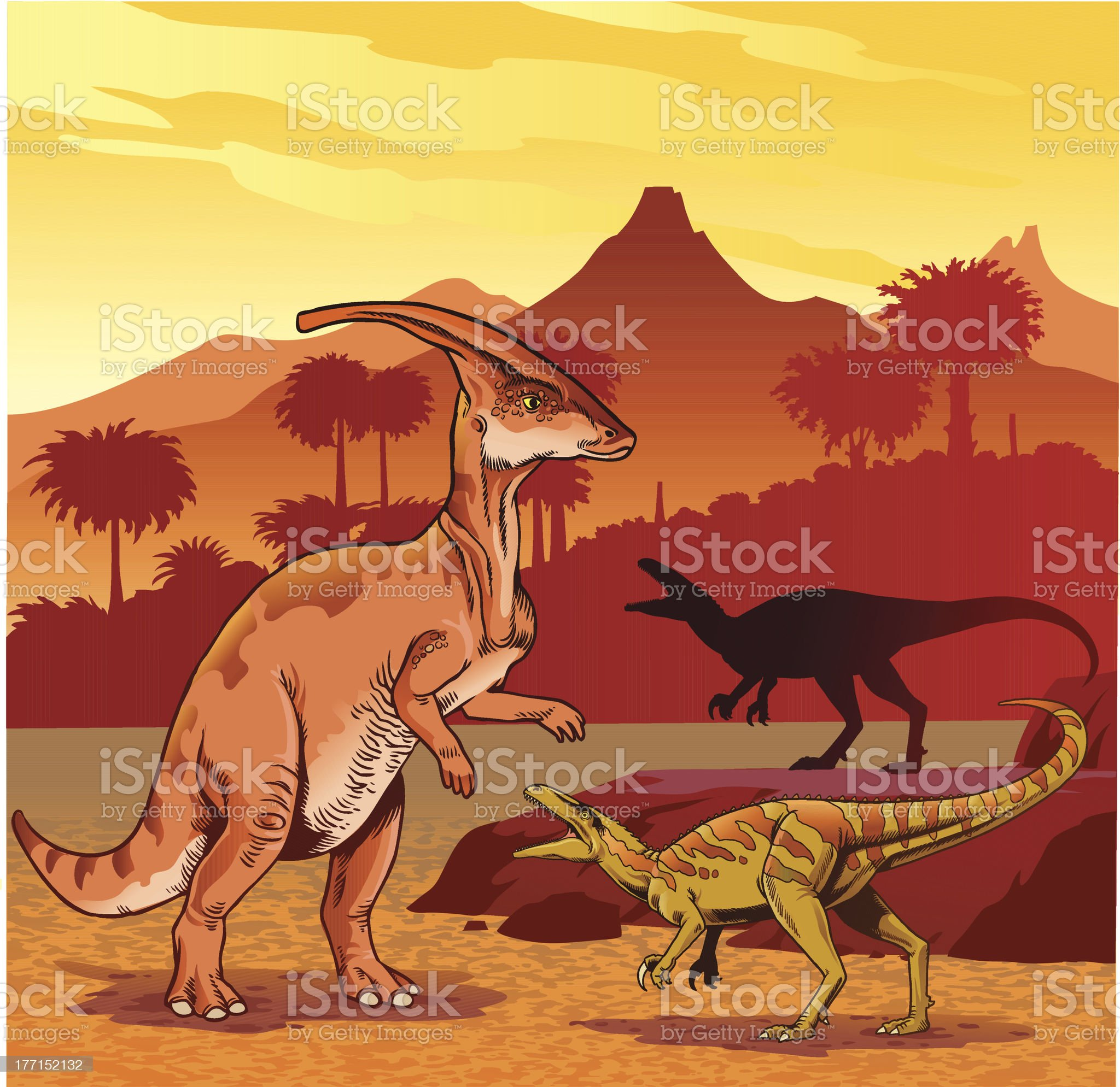 Two Raptors Hunting royalty-free stock vector art