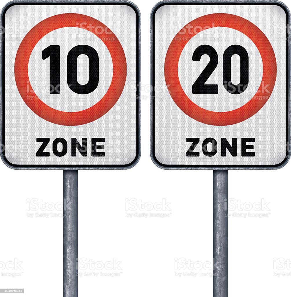 Two rectangular speed limit zone 10 and 20 road signs royalty-free stock vector art