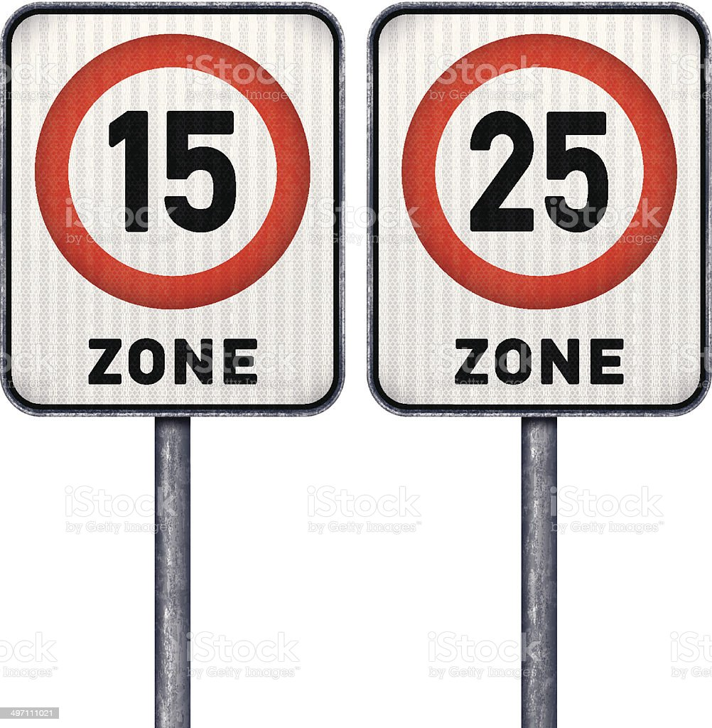 Two rectangular speed limit zone 15 and 25 road signs royalty-free stock vector art