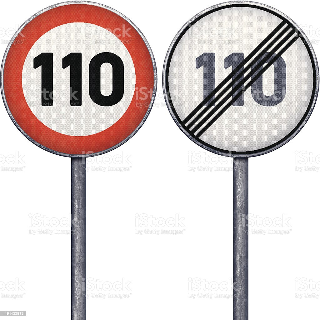 Two red and white maximum speed limit 110 road signs vector art illustration