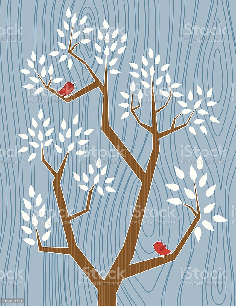 Two Red Birds royalty-free stock vector art