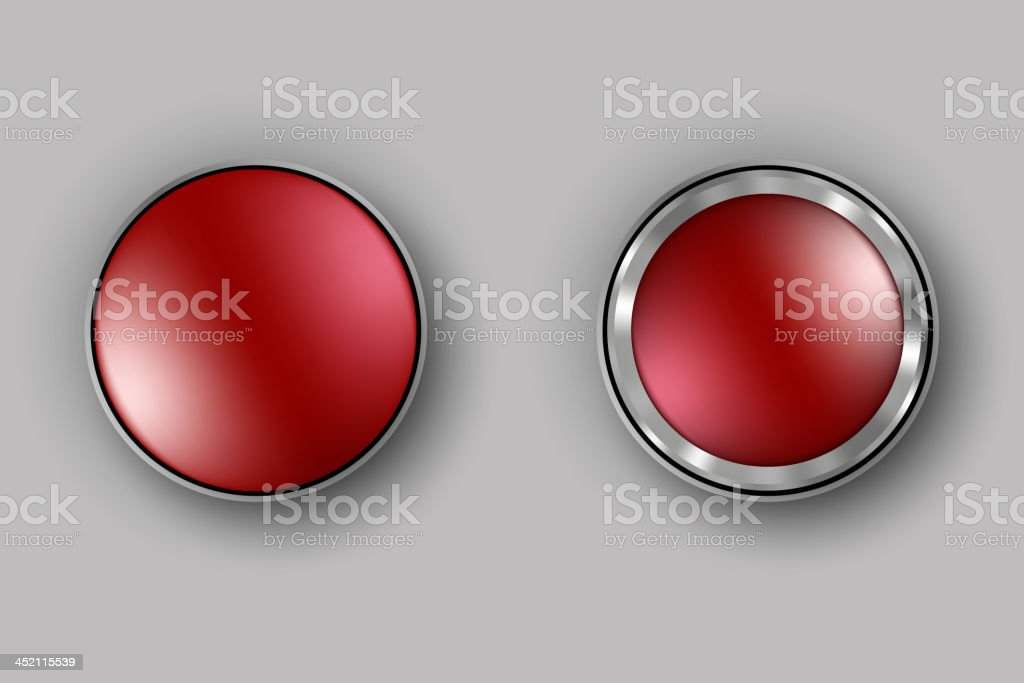 two red buttons vector art illustration