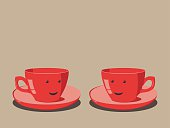 Two red cups smiling