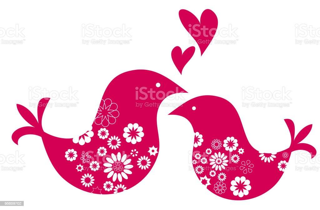 two red cute in love birds with floral pattern royalty-free stock vector art