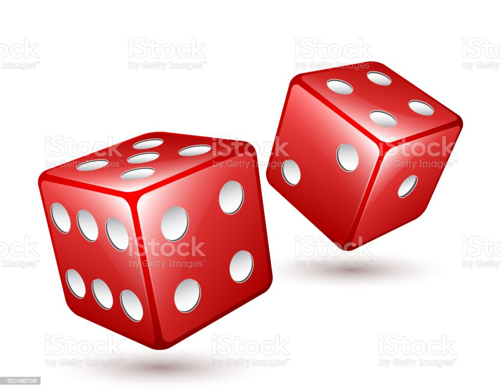 Two red dices vector illustration vector art illustration