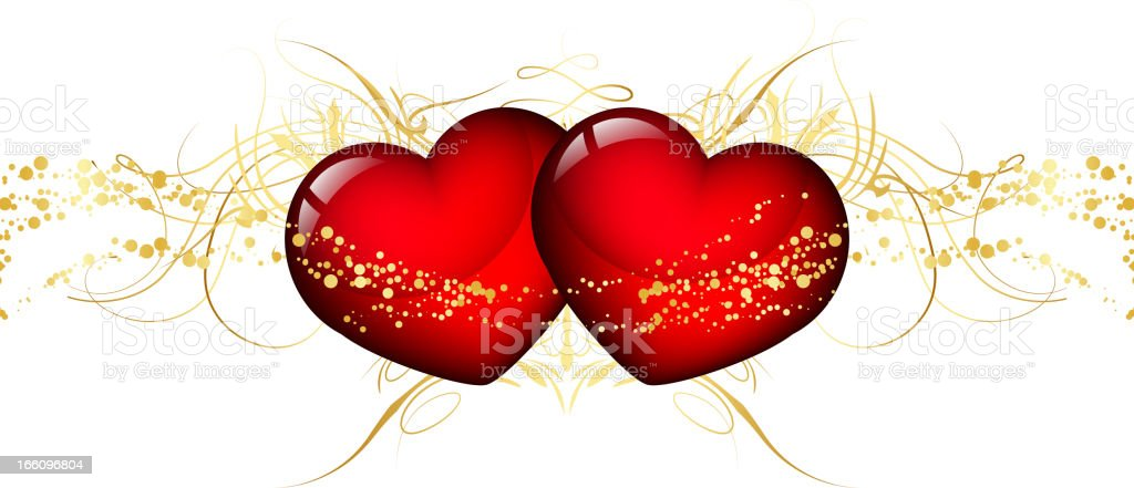 Two red hearts royalty-free stock vector art