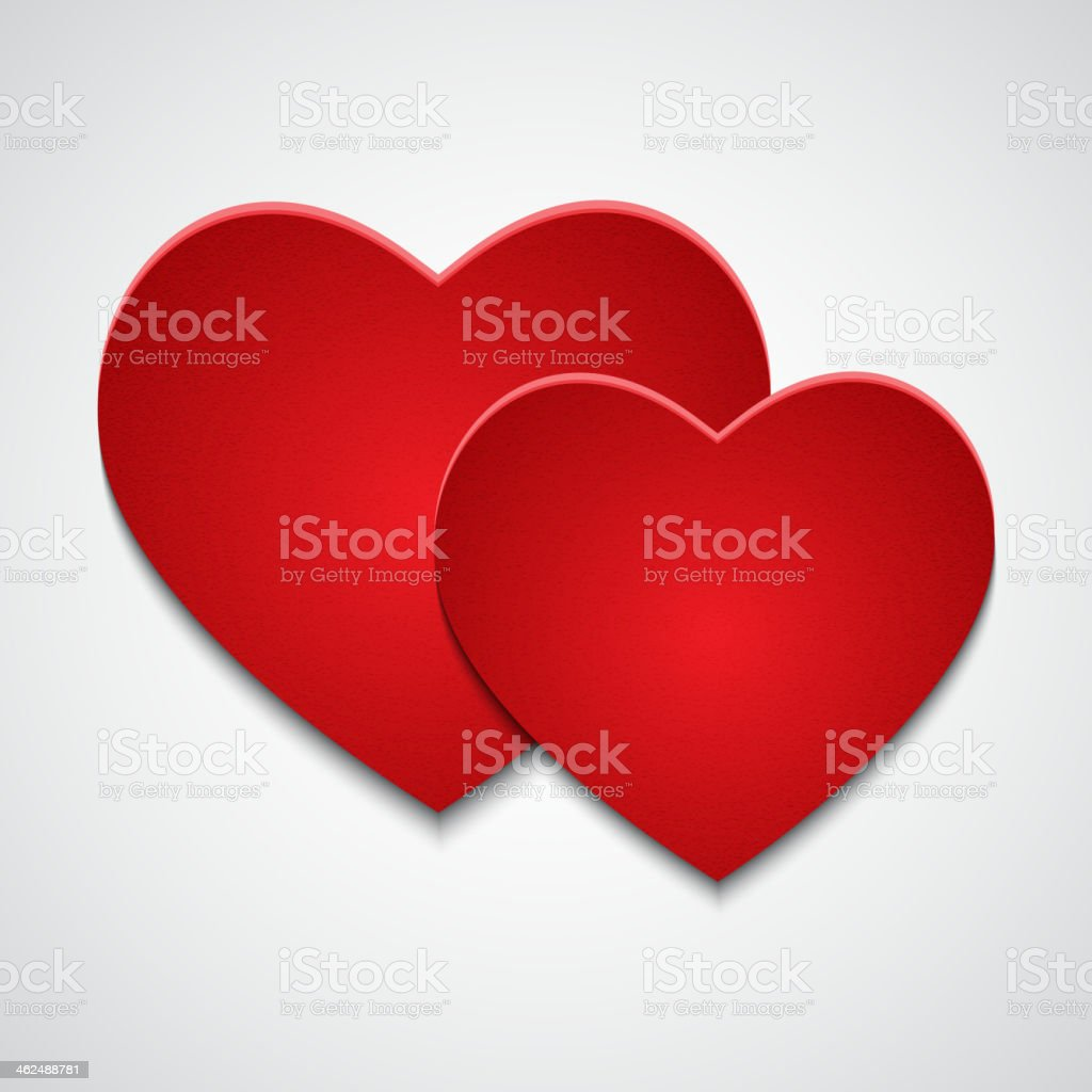 Two red paper hearts vector art illustration