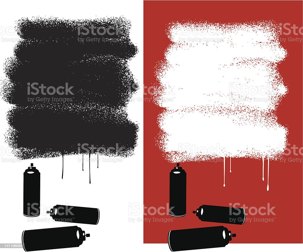 Two red white and black graffiti messages vector art illustration