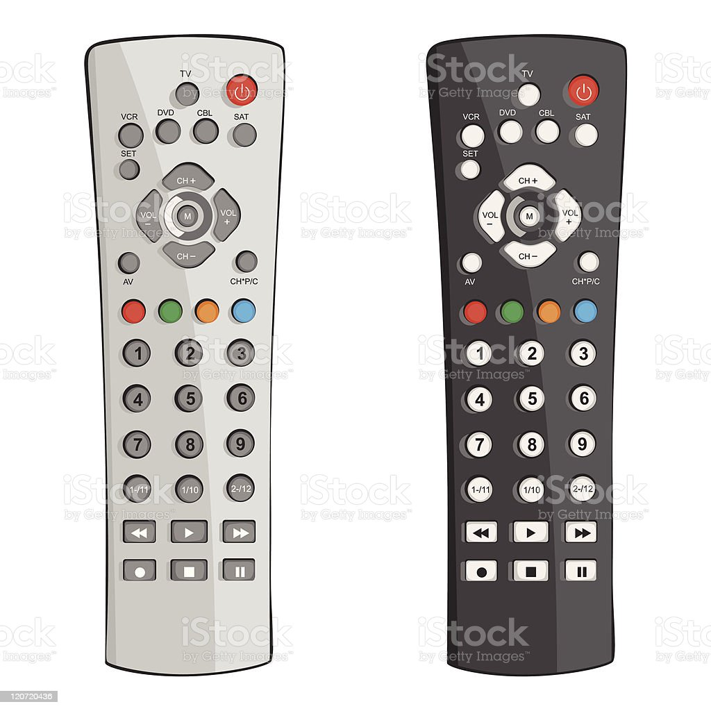 Two remote controls in black and white vector art illustration