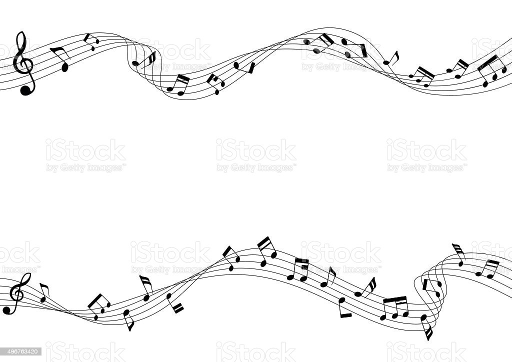 Two row of musical notes and chords vector art illustration