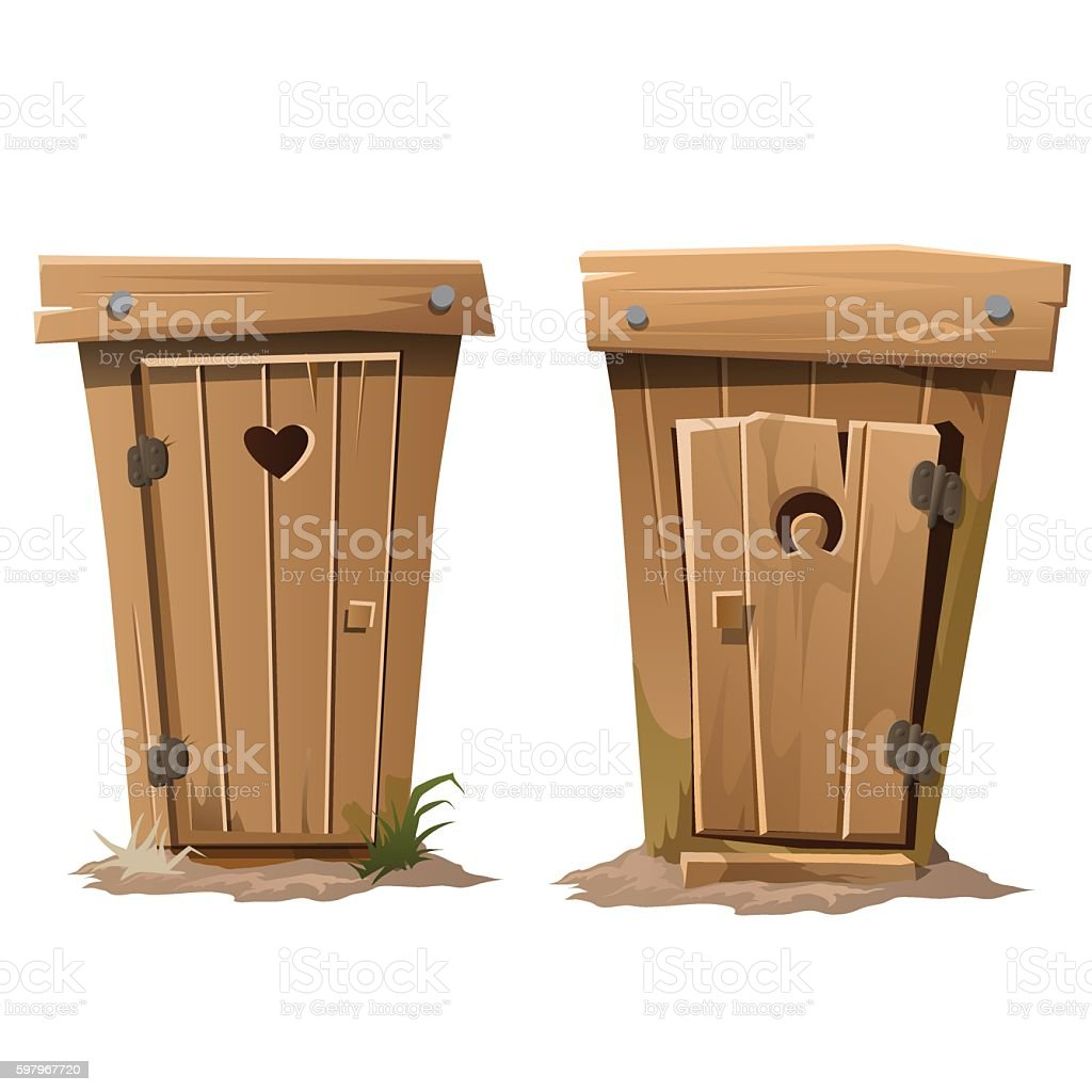 Two rural toilets on white background vector art illustration