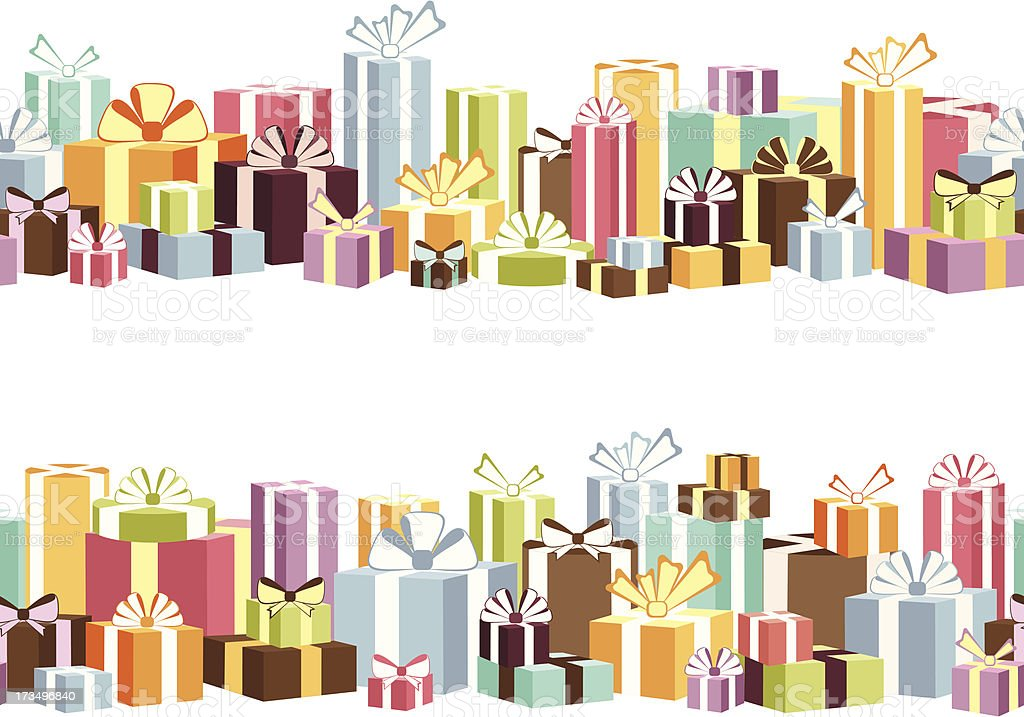 Two seamless borders from gifts royalty-free stock vector art