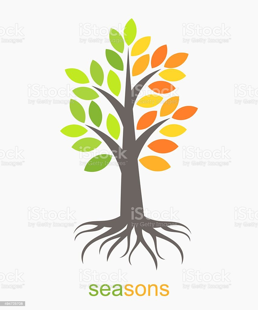 Two seasons tree vector art illustration