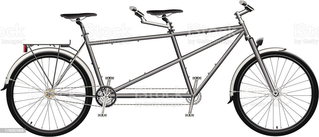 Two Seat Tandem Bicycle vector art illustration