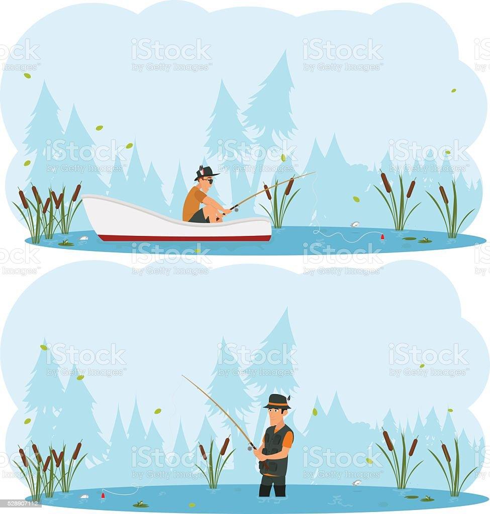 two separate images on the theme of fishing. vector art illustration