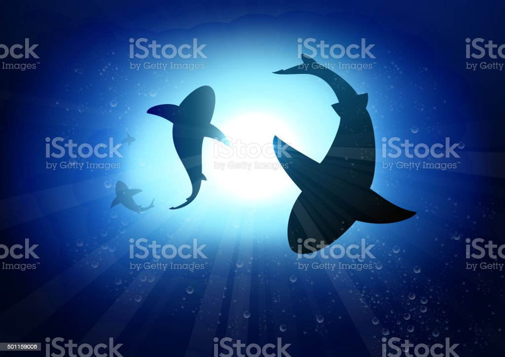 Two sharks in the underwater background vector art illustration