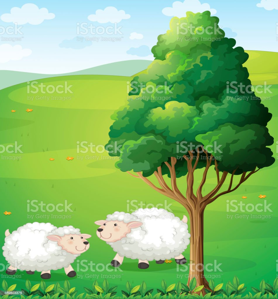 Two sheeps near the tree vector art illustration