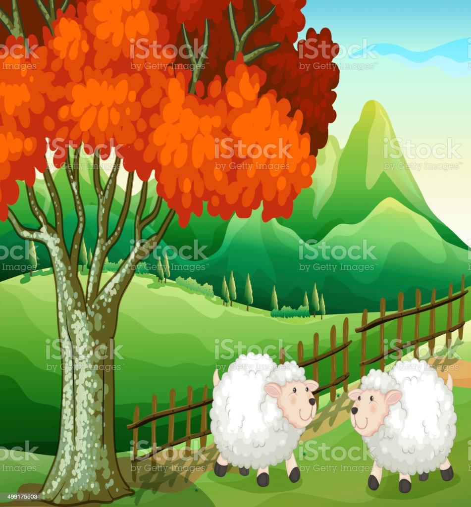 Two sheeps under the tree vector art illustration
