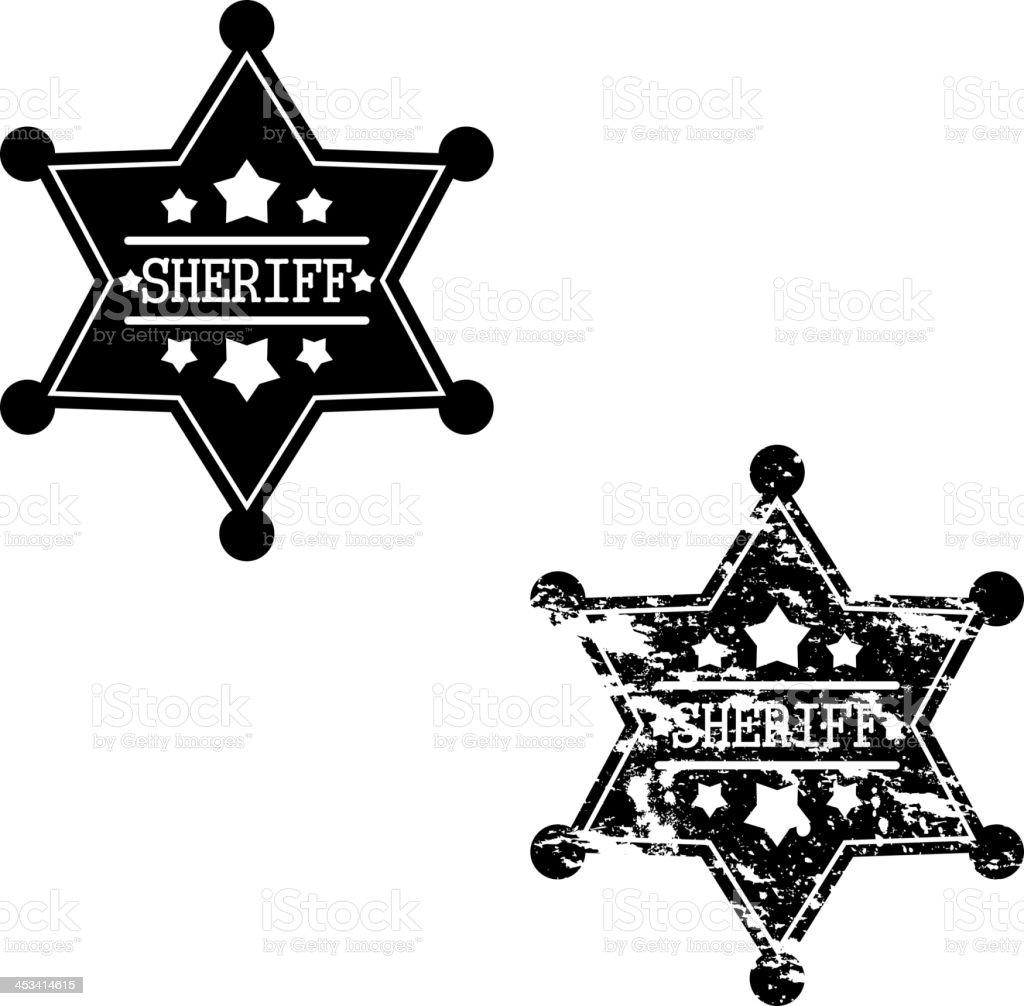 Two sheriff badges vector art illustration