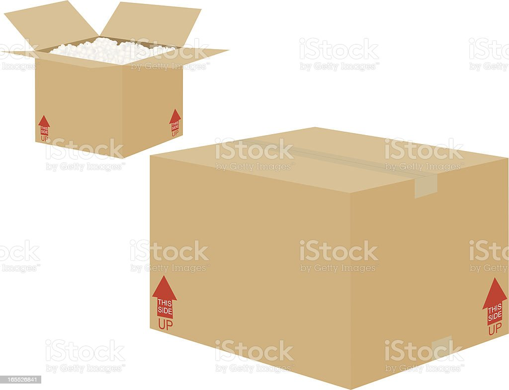 Two shipping boxes one open one closed royalty-free stock vector art