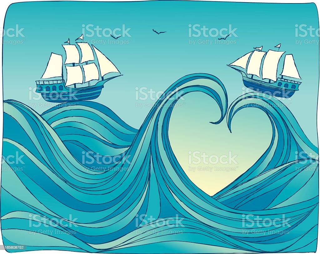 Two ships riding the waves of sea of love vector art illustration