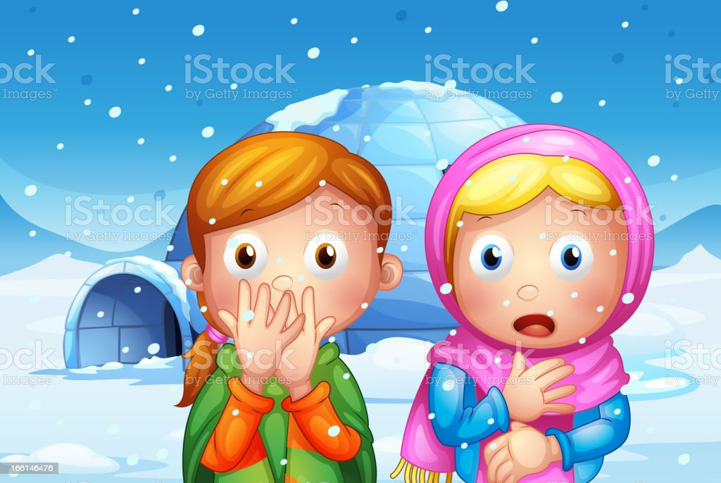 Two shocked girl with snowflakes vector art illustration