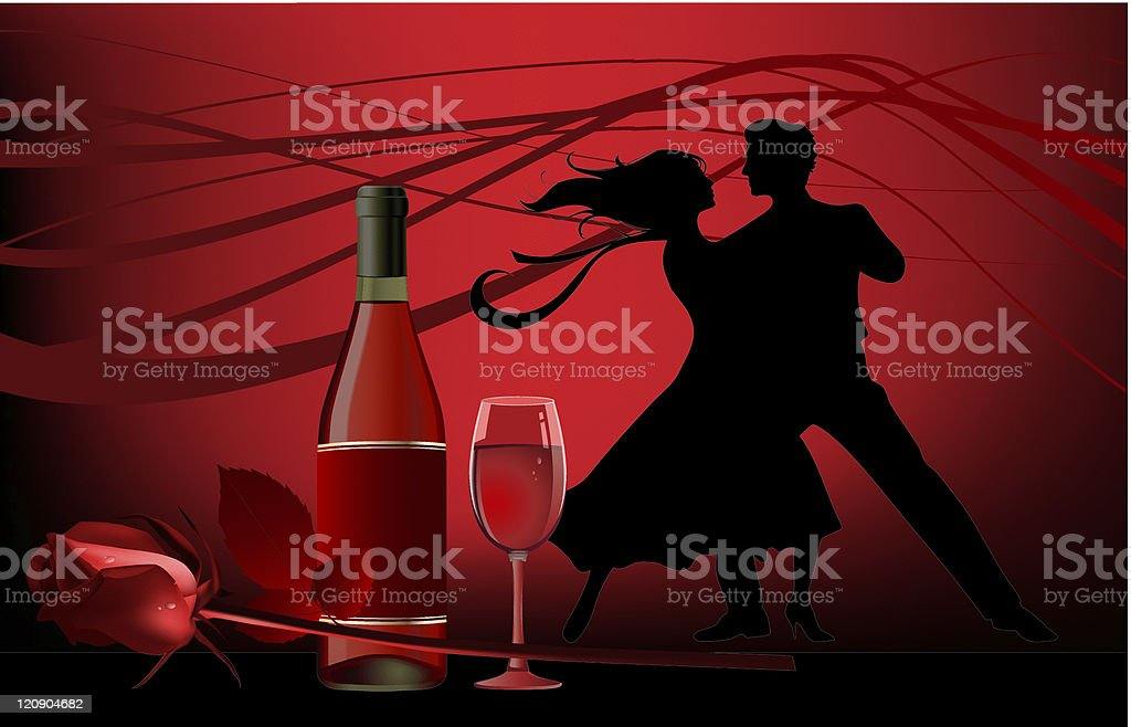 Two silhouettes of dancers with a bottle of wine and a rose royalty-free stock vector art