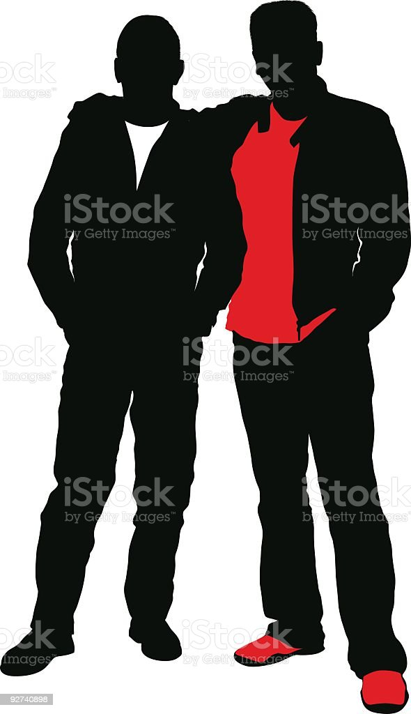 Two silhouettes of friends in black and red royalty-free stock vector art