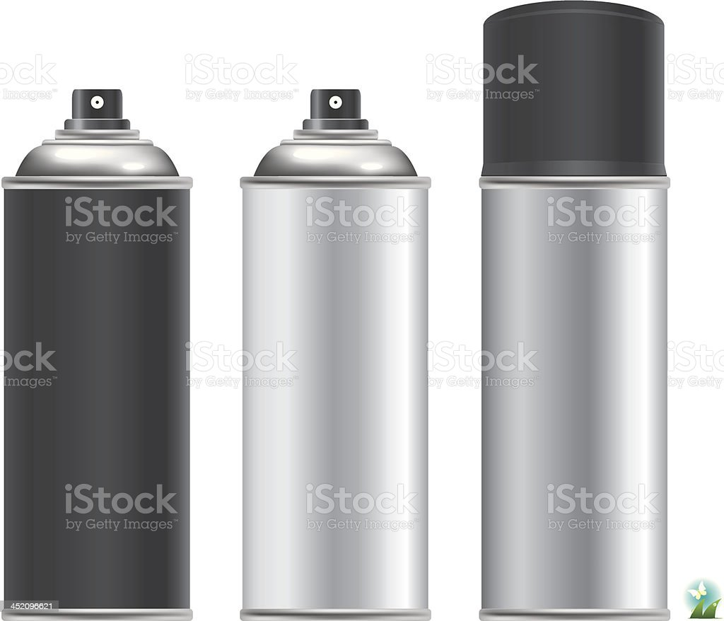 Two silver and one black spray cans with two missing caps vector art illustration