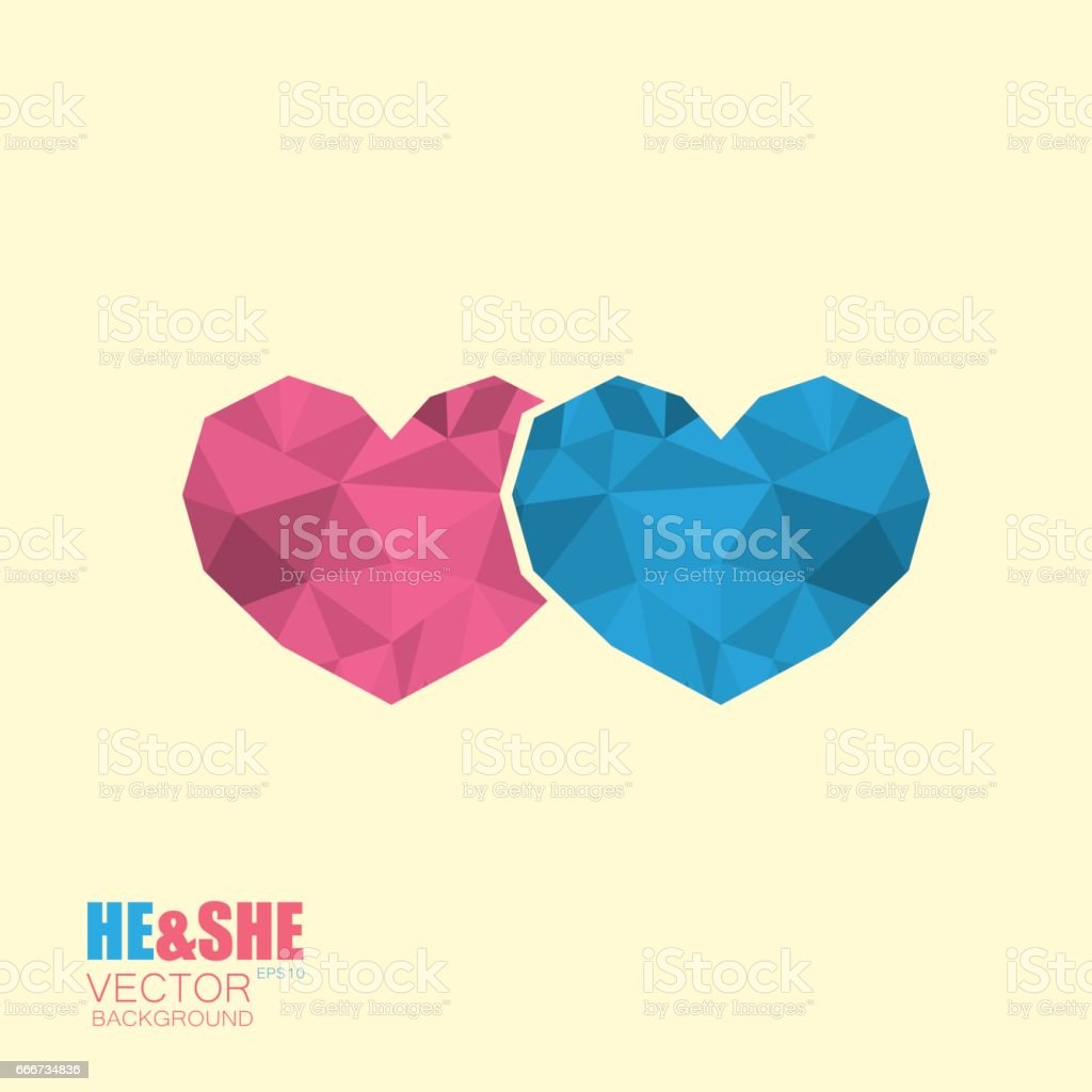 Two simple poligonal hearts icon symbol of man and woman vector art illustration