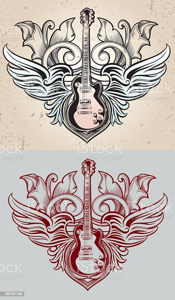 Two sketches of a guitar with wings vector art illustration