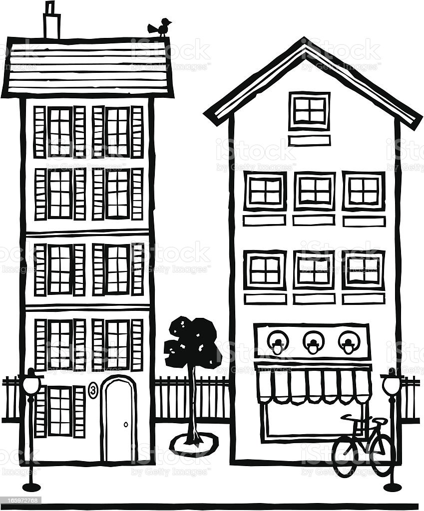 Two Skinny Houses royalty-free stock vector art