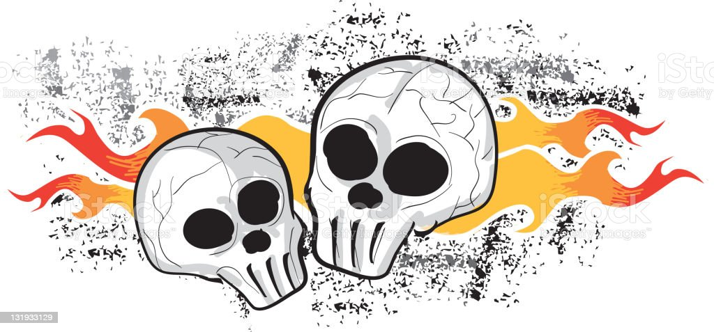 Two skulls and flames vector art illustration