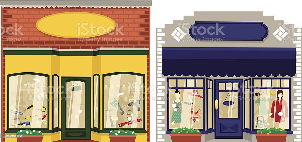 Two small boutique shops vector art illustration